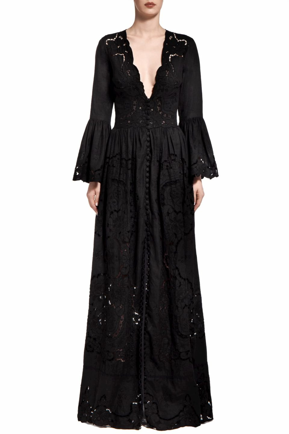 Rusie PR2018 Black Cotton Plunging- Neck Gown with Greek Embroidered Hand-Cut Lace Detail