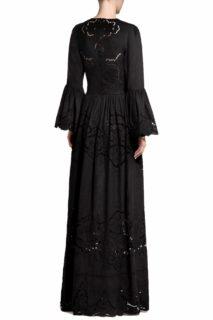 Rusie PR2018 Cotton Plunging- Neck Gown with Greek Embroidered Hand-Cut Lace Detail