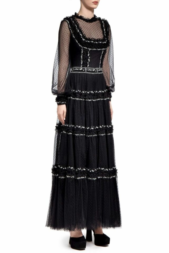 Benna PR2020 Black Floral- Embroidered Dotted Tulle Dress with Illusion Bib-Neckline & Ruffle Detail