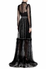 Anice PR2022 Black Flocked Dot Tulle Illusion-Neckline Gown with Dainty Floral-Embroidery & Inner Mini Dress
