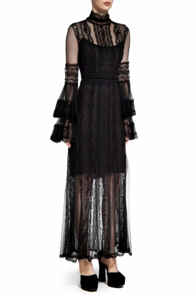 Maryth PR2026 Black French Tulle Godet Dress with Embroidered Lace Trims & Layered Fluted Sleeves