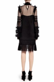 Mara PR2025 Black Dotted Tulle Ruffled Mock-Neck Shift Dress with Embroidered Lace Trim & Ruffled Flounce Hem