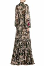 Elida PR2030 Beige Floral- Printed Tiered Chiffon Gown with Slit Sleeves & 3D Flower Appliques