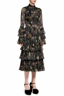 Helice PR2032 Black Floral-Printed Chiffon Midi Dress with Mandarin Collar & Layered Ruffle Detail