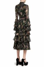 Helice PR2032 Black Floral-Printed Chiffon Midi Dress with Mandarin Collar & Layered Ruffle Detail