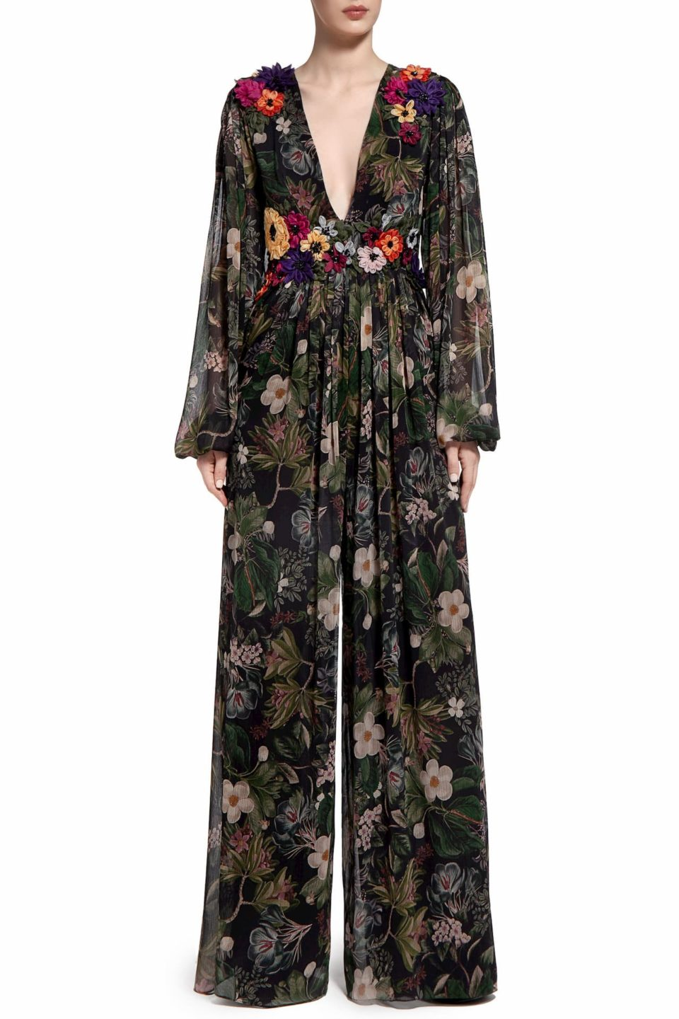 Minnitha PR2034 Black Floral-Printed Chiffon Jumpsuit with Flower Appliques