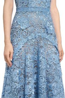 Clarie PR2045 Blue Guipure Lace Short-Sleeve Handkerchief Dress with 3D Lace Appliques