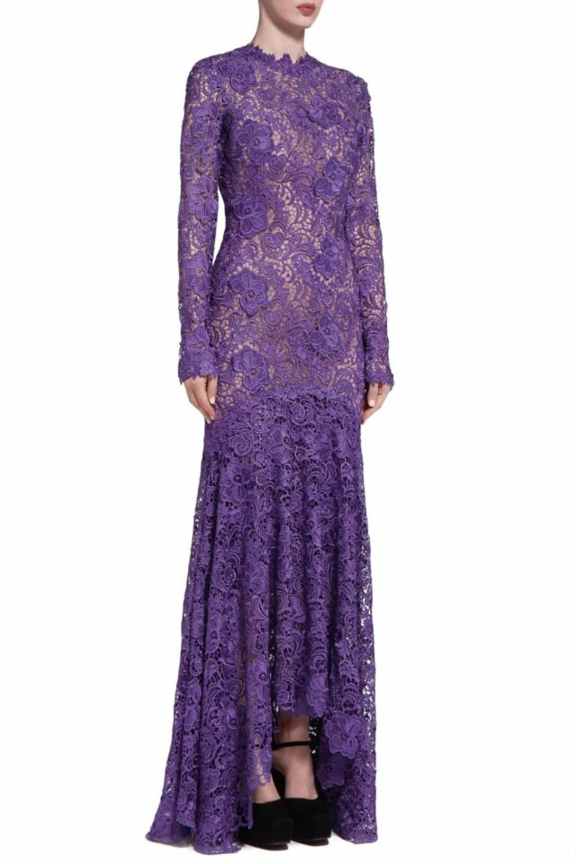 Charla PR2046 Purple Guipure Lace Long-Sleeve Fishtail Gown with 3D Lace Appliques
