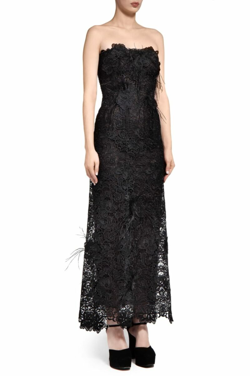 Charabella PR2047 Black Guipure Lace Strapless Bustier Dress with Ostrich Feather Appliques