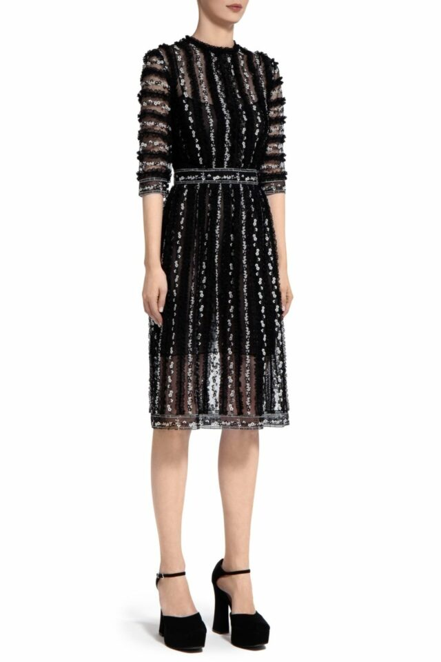 Bessina PR2021 Black Floral- Embroidered Tulle Knee-Length Dress with Ruffle Trim