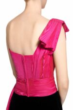 Ebbie PR2065 Pink Taffeta Sweetheart Top with Bow-Tie Shoulder & Extended Waist Sash
