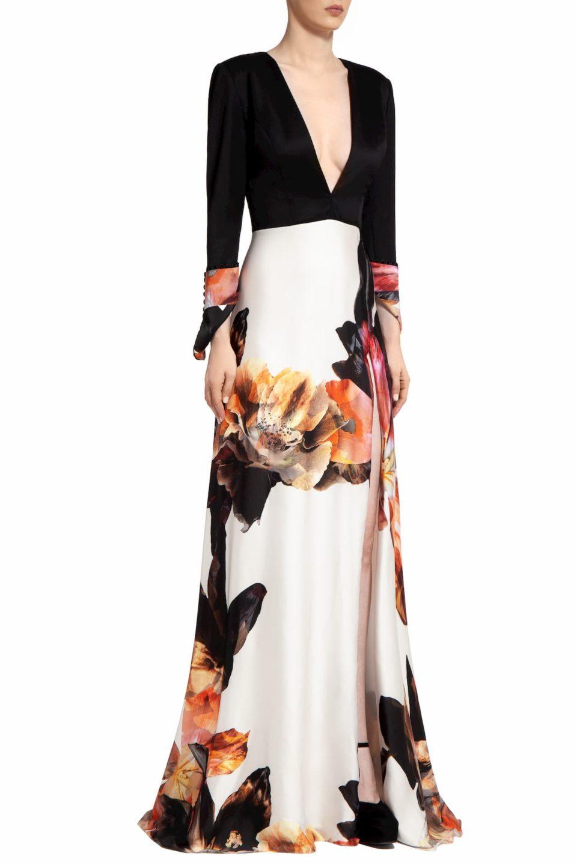 Elisha PR2055 White Satin Floral-Printed & Refined Wool Plunging-Neckline Gown