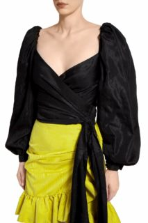 Mabelle PR2067 Black Taffeta Wrap Top with Puff Sleeves