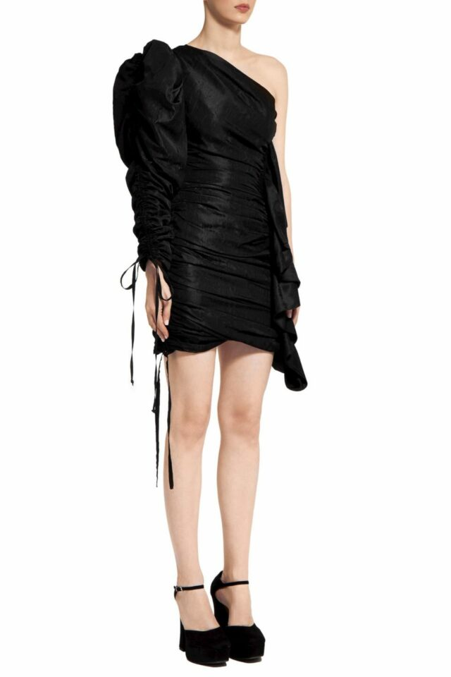 Riette PR2070 Black Taffeta One- Shoulder Ruched Mini Dress with Ruffle Detail