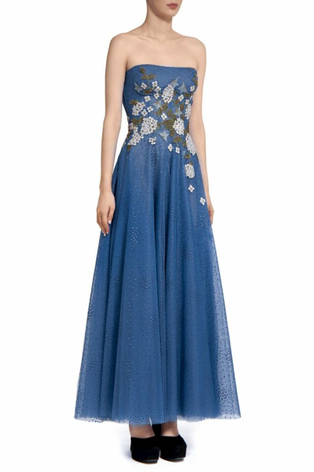 PR2075 Elette blue dotted tulle strapless maxi dress with flower appliques