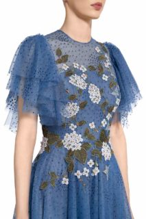 PR2076 Harla blue dotted tulle gown with flutter sleeves and floral appliques