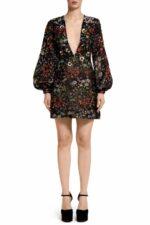 Renna PR2088 Black Flower-Embossed Brocade Mini dress with Metallic-Paillette Flower Embellishment