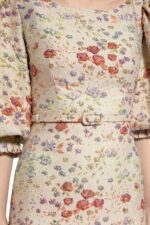 Janadie PR2089 Beige Flower- Embossed Brocade Sheath Dress with Ruffled Hem & High-Neckline