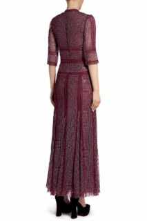Trina PR2098 Red Embroidered Sequin Godette Dress with Ladder Lace Trims