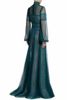 Evita PR2099 Green Embroidered Sequin High-Neckline Godet Gown with Dotted Tulle