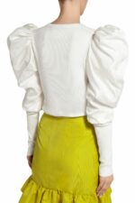 Maura PR2063 White Ribbed-Knit Top with Taffeta Puff Sleeves