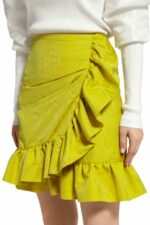 Luella PR2066 Yellow ruffled wrap taffeta mini skirt