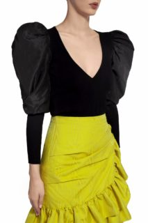 Tallie PR2064 Black Ribbed-Knit V-Neckline Top with Taffeta Puff Sleeves