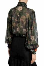Berra PR2035 Floral-Printed Chiffon Pussybow Blouse with floral appliques