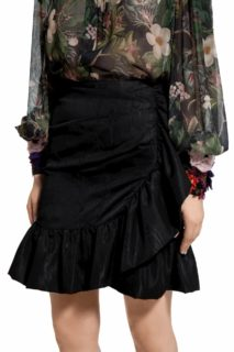 Luella PR2066 Black ruffled wrap taffeta mini skirt