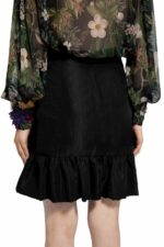 Luella PR2066 Black ruffled wrap taffeta mini skirt