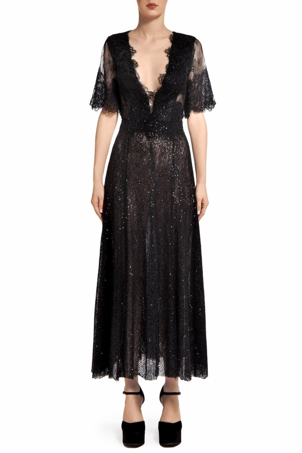 Leigh PR2095 Black Sequin & Chantilly Lace Empire Dress
