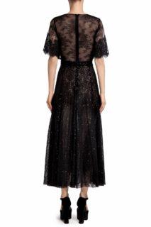 Leigh PR2095 Black Sequin & Chantilly Lace Empire Dress