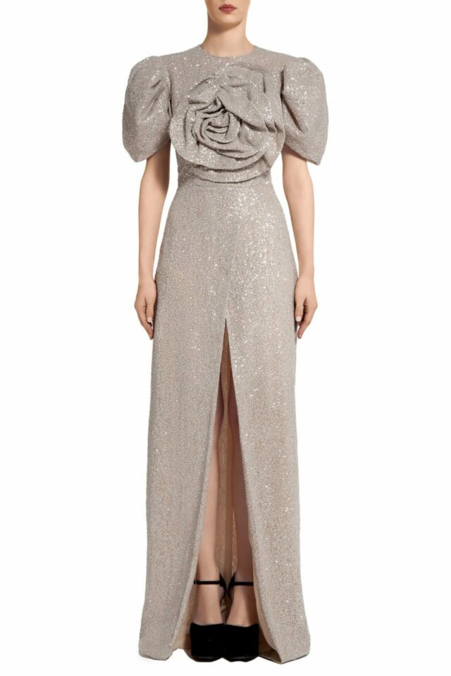 Prinda PR2090 Beige Gold Sequin Wrap-Front Dress with Oversized Rosette Bodice