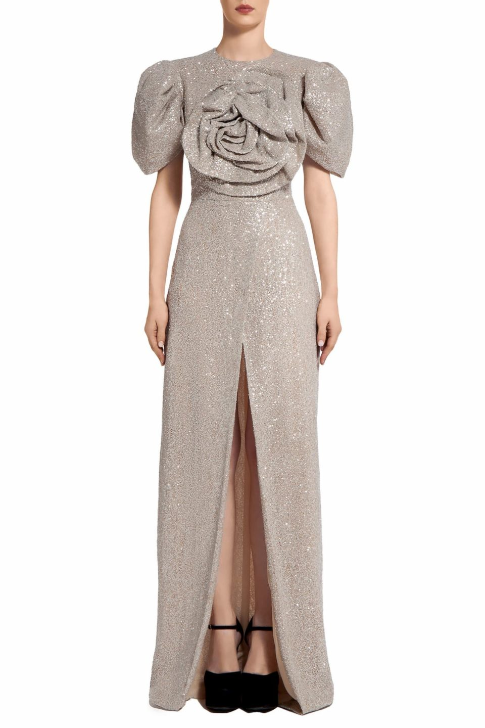 Prinda PR2090 Beige Gold Sequin Wrap-Front Dress with Oversized Rosette Bodice
