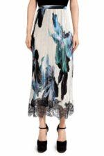 Malinda PR2051 White Satin Floral-Printed Pleated Skirt