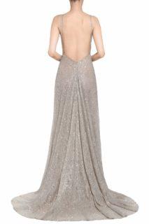 Larista PR2091 Beige Gold Plunging-Neckline Empire Gown with Open-Back