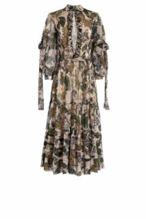 Enizda PR2031 Beige Floral- Printed Ankle-Length Dress with Peekaboo Neckline & Neck-Ties