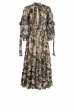 Enizda PR2031 Beige Floral- Printed Ankle-Length Dress with Peekaboo Neckline & Neck-Ties
