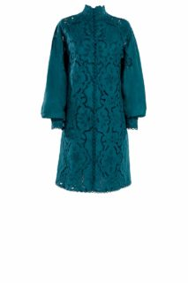 Linen Button- Down Shirt Dress with Greek Traditional Reticella Lace Detail