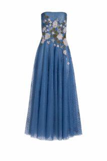 PR2075 Elette Blue French Tulle Strapless Dress