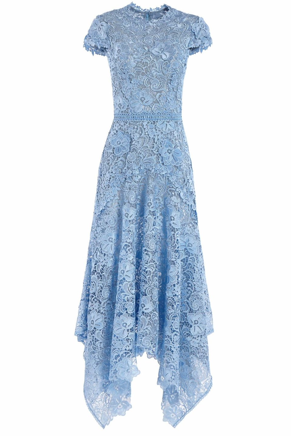Clarie PR2045 Blue Guipure Lace Short-Sleeve Handkerchief Dress with 3D Lace Appliques