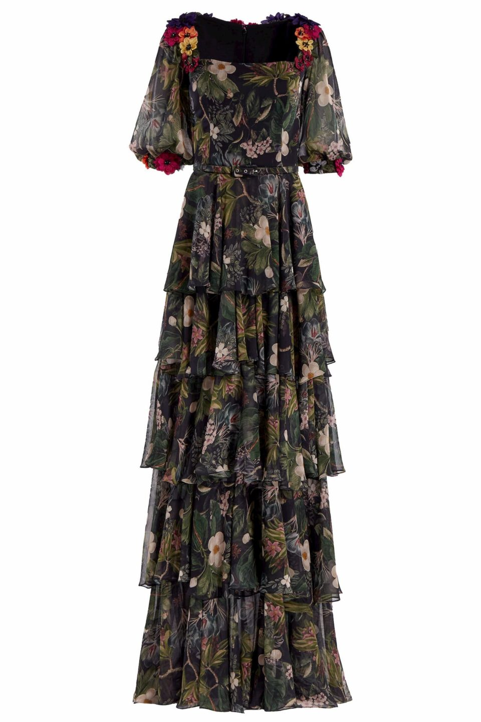 Minna PR2033 Black Floral-Printed Chiffon Layered Ruffle Gown