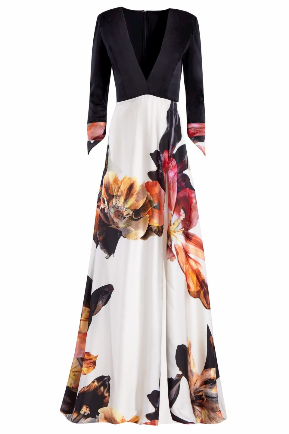 Elisha PR2055 White Satin Floral-Printed & Refined Wool Plunging-Neckline Gown
