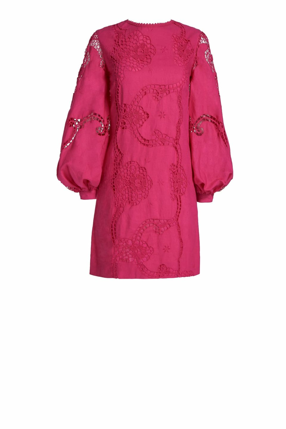Finnie PR2011 Pink Linen Shift Dress with Balloon Sleeves & Greek Traditional Reticella Lace Detail