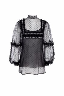 Izabeth PR2023 Black Floral- Embroidered Dotted Tulle Blouse with Illusion Bib-Neckline & Ruffle Detail