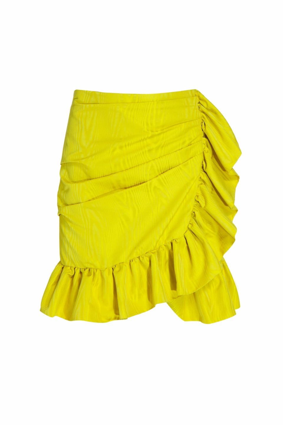 Luella PR2066 Yellow ruffled wrap taffeta mini skirt