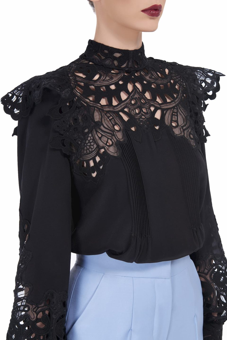 Rilella SS2082-1 black crepe de chine blouse with broderie anglaise lace