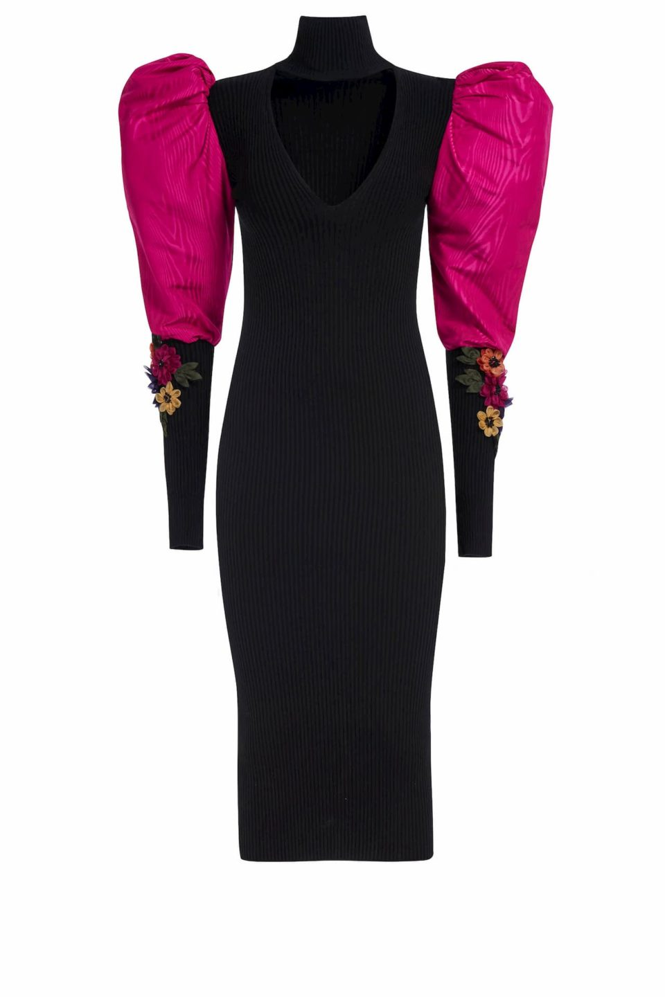 Christia PR2060 Ribbed-Knit Body Con Midi Dress with Keyhole Neckline & Puffed Taffeta Sleeves & 3D Flower Appliques