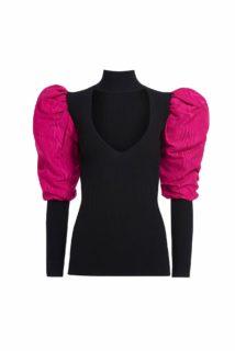 Jadison PR2062 Black Ribbed-Knit Keyhole Neckline Top with Taffeta Puff Sleeves
