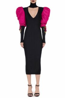 Christia PR2060 Ribbed-Knit Body Con Midi Dress with Keyhole Neckline & Puffed Taffeta Sleeves & 3D Flower Appliques